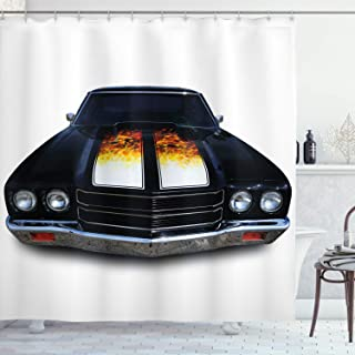 Ambesonne Classic Shower Curtain, Vintage Retro Car with Fire Flame Print in Front Image Artwork, Cloth Fabric Bathroom Decor Set with Hooks, 70