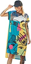 Cool Girls Trendy Womens Long Tee Dress Graffiti Hi-low Hem Boyfriend Loose Hip Hop Street Dance