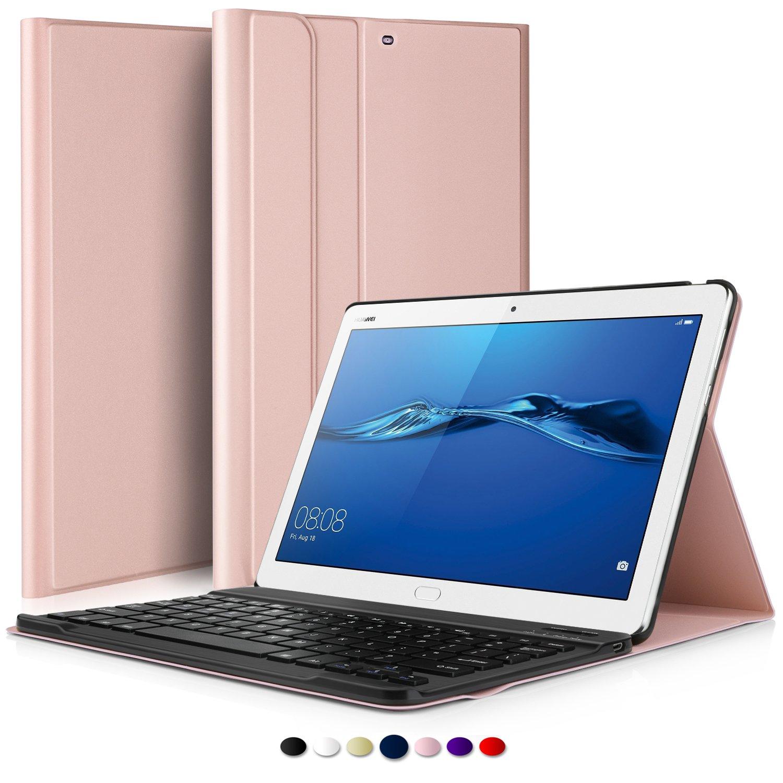 IVSO Teclado Estuche para Huawei MediaPad M3 Lite 10,[QWERTY],con Magnético Desmontable Wireless Inalámbrico Utilizando Altura Ajustable Teclado Funda para Huawei MediaPad M3 Lite 10, (Oro Rosa): Amazon.es: Electrónica