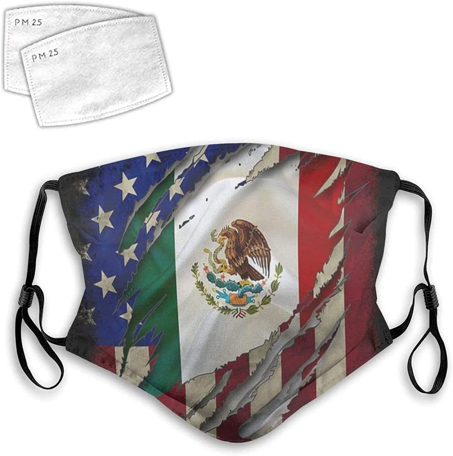 Proud Mexican Flag Reusable Face Mask Balaclava Washable Outdoor Nose Mouth Cover for Men and Women M