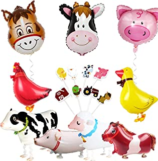 Farm Animal Party Decorations Barnyard Foil Balloons and Cupcake Topper(Duck Chicken Cow Sheep Pig Donkey)