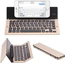 NOVT Foldable Ultra-Slim Aluminum Bluetooth Keyboard with Tablet/Phone Stand for iPhone 7 Plus/7/6s,iPad 4/3/2/1, iPad Pro 9.7, iPad Air 2/1,iPad mini 4/3/2, Samsung Galaxy Android Smart Phones (Gold)