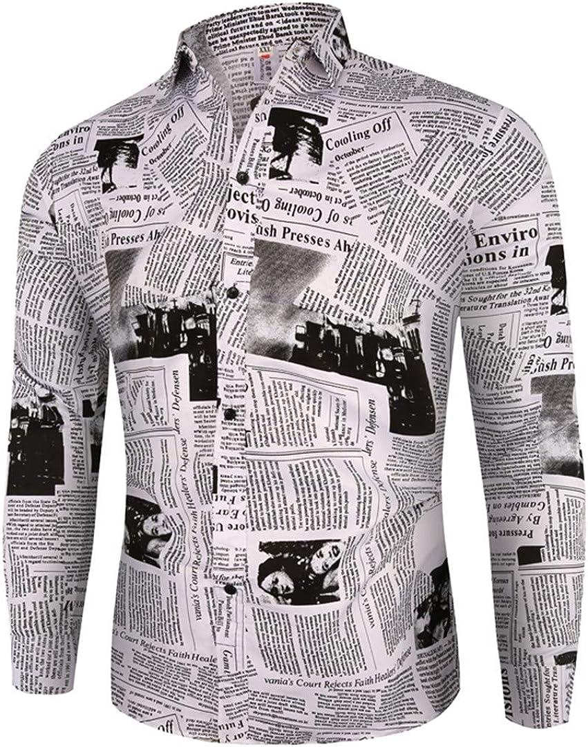 Casual Business Plaid Shirts Men Dress Vintage Newspaper Print Long Sleeve Floral Shirts