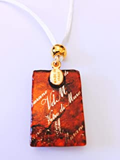Murano Glass Rectangle Necklace - Amber