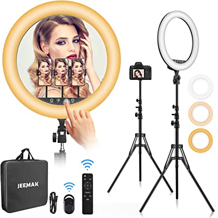 """Ring Light 18 inch,Jeemak 18""""/48cm Outer 55W 2700K- 6500K, CRI 95, Ring Light with Stand & Phone Holder, Dimmable LED Ring Light, Touch Control Screen, Selfie Light Ring for Live Stream/Makeup/YouTube"""