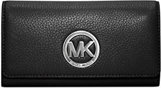 652343b0ec56 Michael Kors Fulton Carryall Black Leather Wallet with Silver Hardware Mk  32f2sfte3l