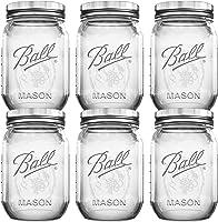 Ball Mason Jars 16 oz Bundle with Non Slip Jar Opener Set of 6 - 16 Ounce Size Mason Jars with Regular Mouth - Canning...