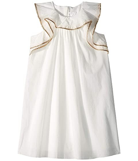 Chloe Kids Dress w/ Gold Braid On Ruffles (Big Kids)