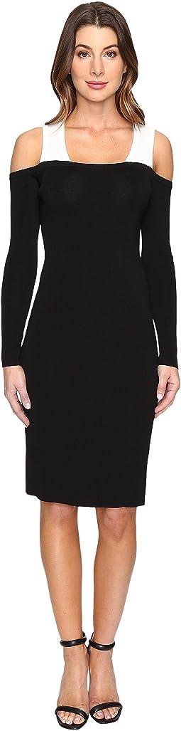 Color Block Cold Shoulder Sweater Dress