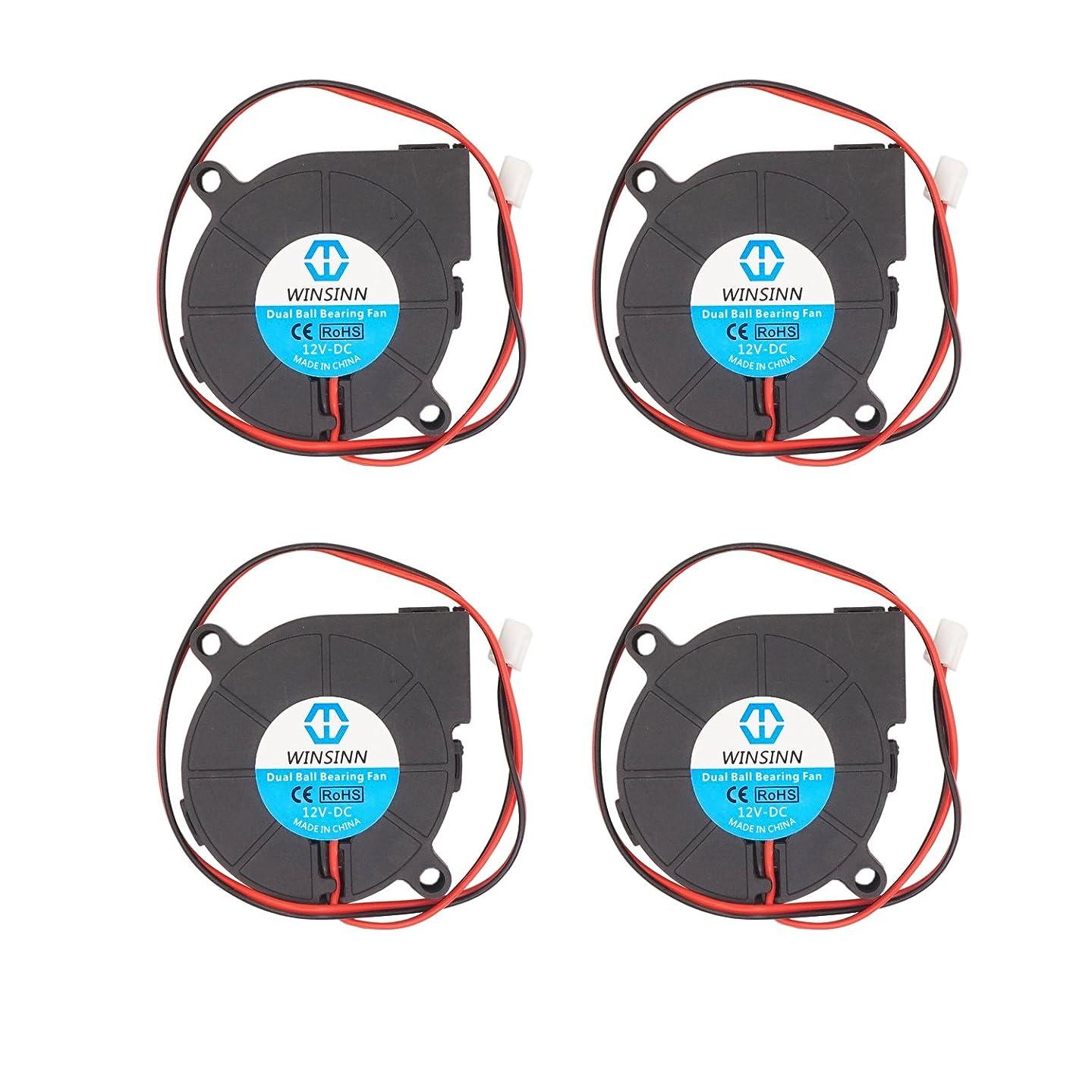 WINSINN Blower Fan 12V 50mm 50x15mm 5015 DC Brushless Cooling Dual Ball Bearing For 3D Printer Extruder Hotend Makerbot MK7 MK8 CPU Chip Arduino - 2Pin 0.28A 3.36W 6000+-5% RPM (Pack of 4Pcs)