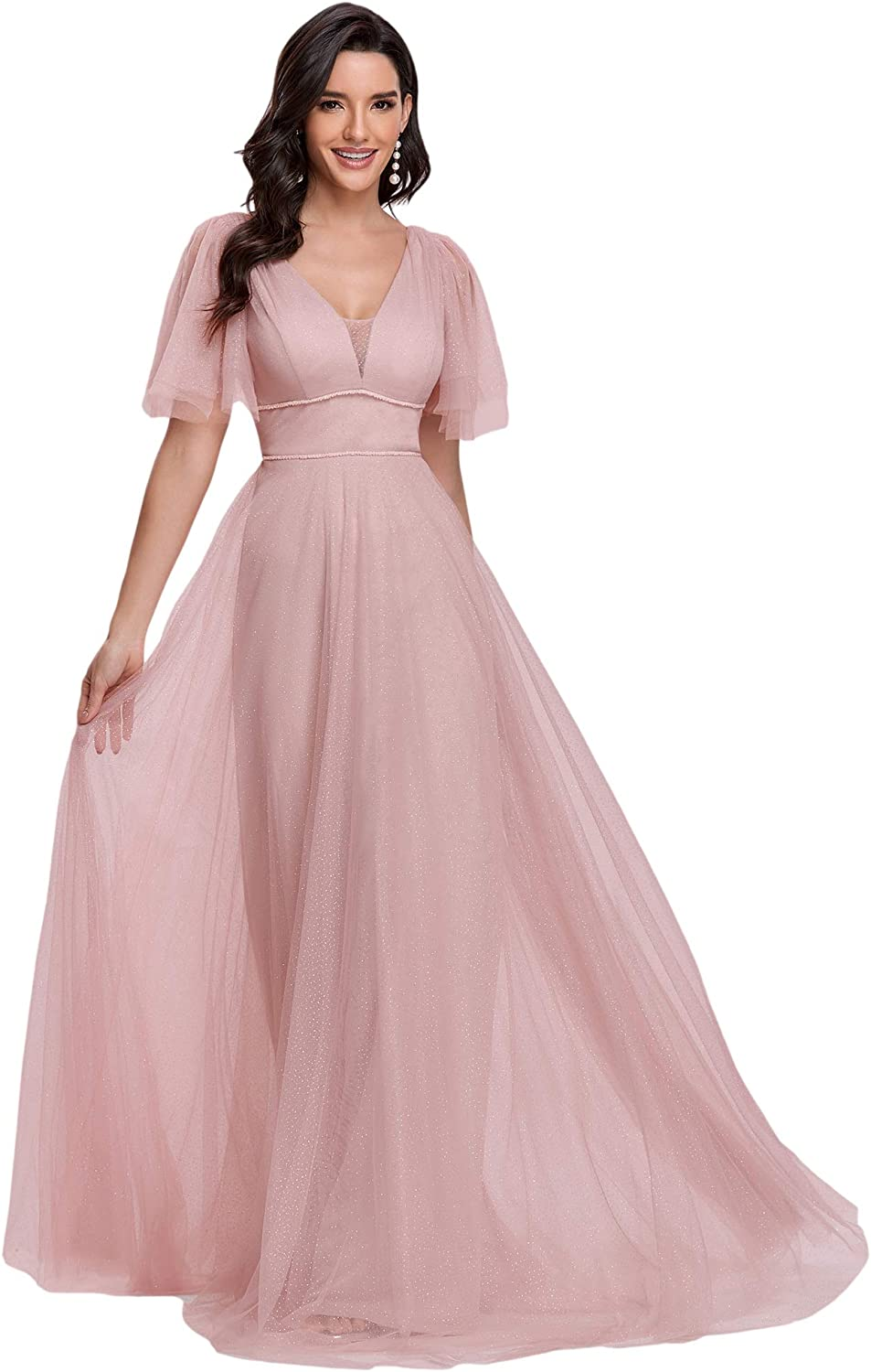 Ever-Pretty Women's Illusion Short Sleeve Summer Tulle Bridesmaid Dresses for Wedding 0278
