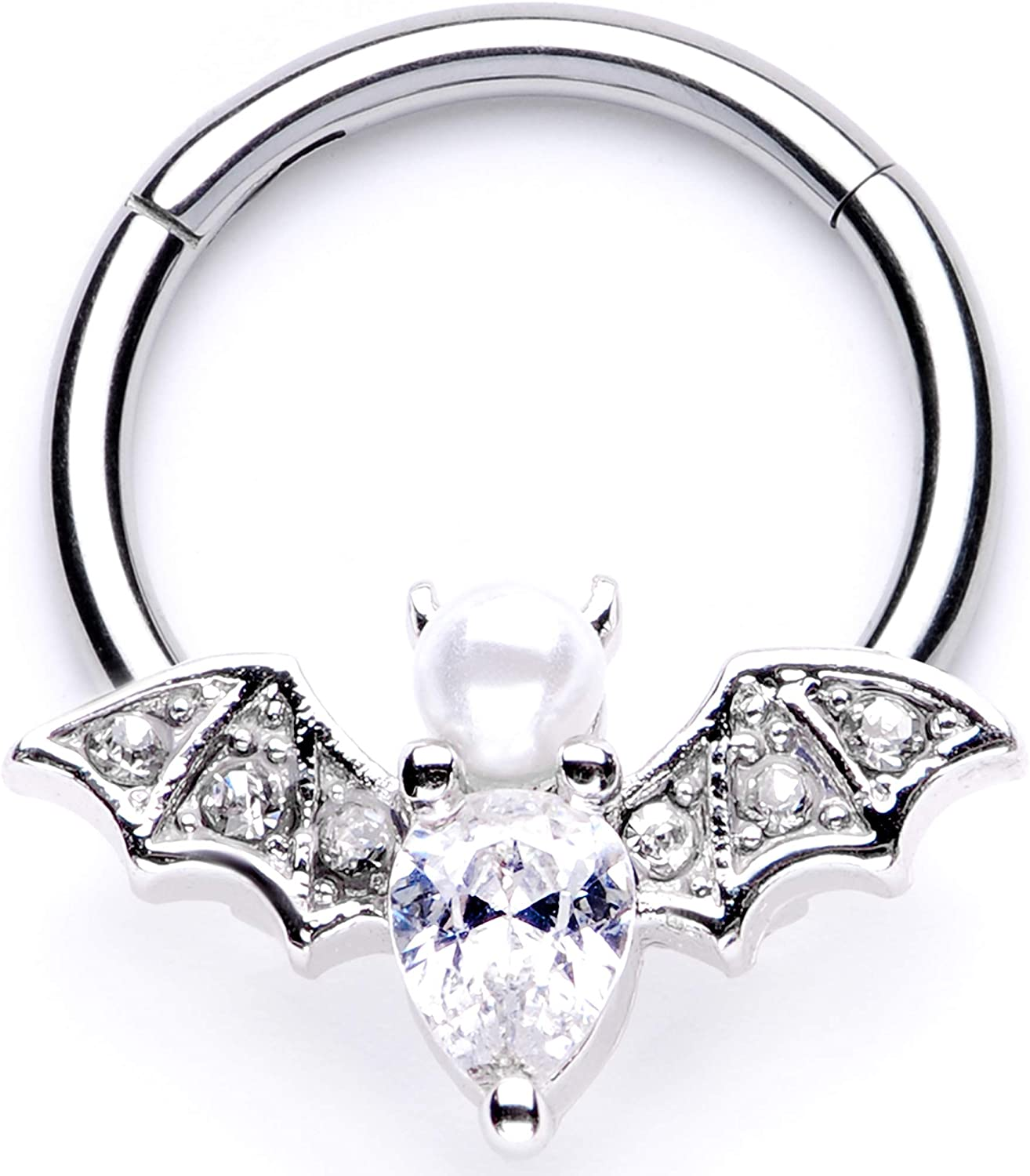 Body Candy Womens 16G Steel Hinged Segment Ring Seamless Cartilage Nipple Ring Clear Bat Nose Hoop 3/8