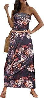 Actloe Women Off Shoulder Boho Bandeau Strapless Floral Printed Maxi Dress