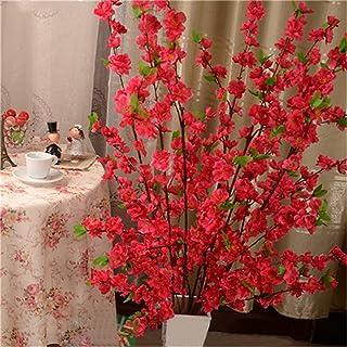 プリザーブドフラワー 65cm人工チェリースプリングプラムピーチ花枝シルクフラワーツリーの装飾 アートフラワー (Color : Rose Red)