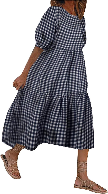 wlczzyn Women Dresses Summer Puff Sleeves Crew Neck Swing Dress Plaid Print Flowy Midi Dress Ladies Casual Sundress