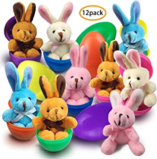 【24Pcs】Easter Egg Fillers -12 Pack Easter Bunnies Rabblits with 12 Surprise Colorful Eggs for Easter Hunting Girls and Boys Easter Gifts Easter Party Favors