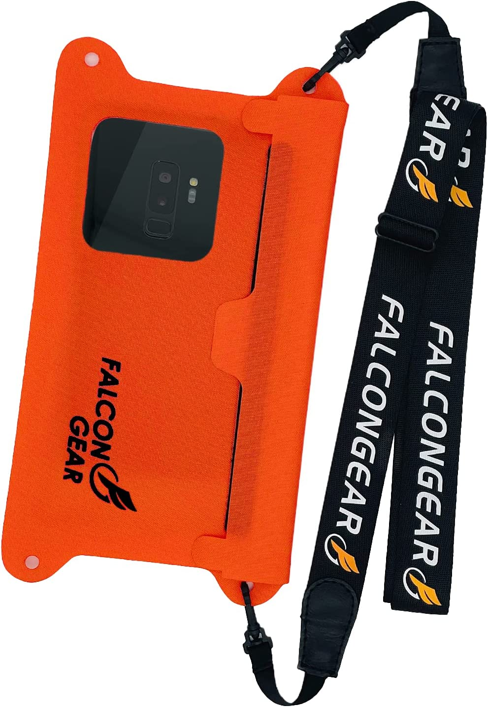 """FalconGear Waterproof Phone Pouch Universal Waterproof Phone Case with Adjustable Lanyard IPX8 Waterproof Phone Bag for iPhone 12/11 Pro Max XR Galaxy S21/20 Ultra & More Up to 7.5"""" (Orange-Red)"""