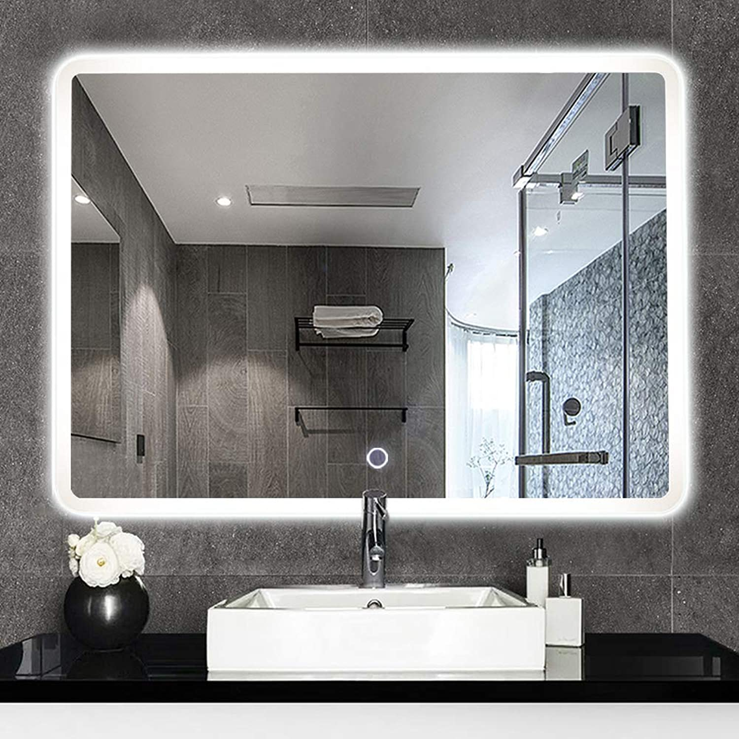 NeuType 35  x 31  Backlit Mirror Bathroom Sink Mirror Horizontal and greenical Wall-Mounted LED Vanity Mirror with Touch Button
