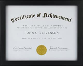 ONE WALL Tempered Glass Picture Frame Black 8.5x11 Documents Certificate Diploma Without Mat
