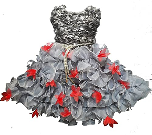 Fit and Flare Dress Festive Wedding Net Fabric for Baby Girls