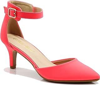 Jputa Women's Pointy Toe High Mid Heel Sexy Ankle Strap Sandals Ballerina Dress Pump Ballet Wedding Patent Harlow Pump Shoes