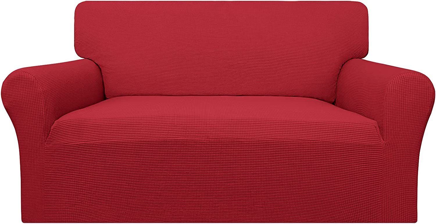 Easy-Going 100% Waterproof Loveseat Couch Cover,Dual Waterproof Sofa Cover, Stretch Jacquard Sofa Slipcover, Leakproof Furniture Protector for Kids, Pets, Dog and Cat( Loveseat, Christmas Red)