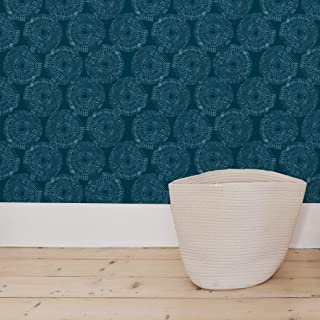 Flipside Painted Blue Teal Circles. Easy to Apply and Easy to Remove Pre-Pasted Wall Paper That Will Not Damage Walls. Each roll is 18ft Long x 18in Wide. by Flipside.