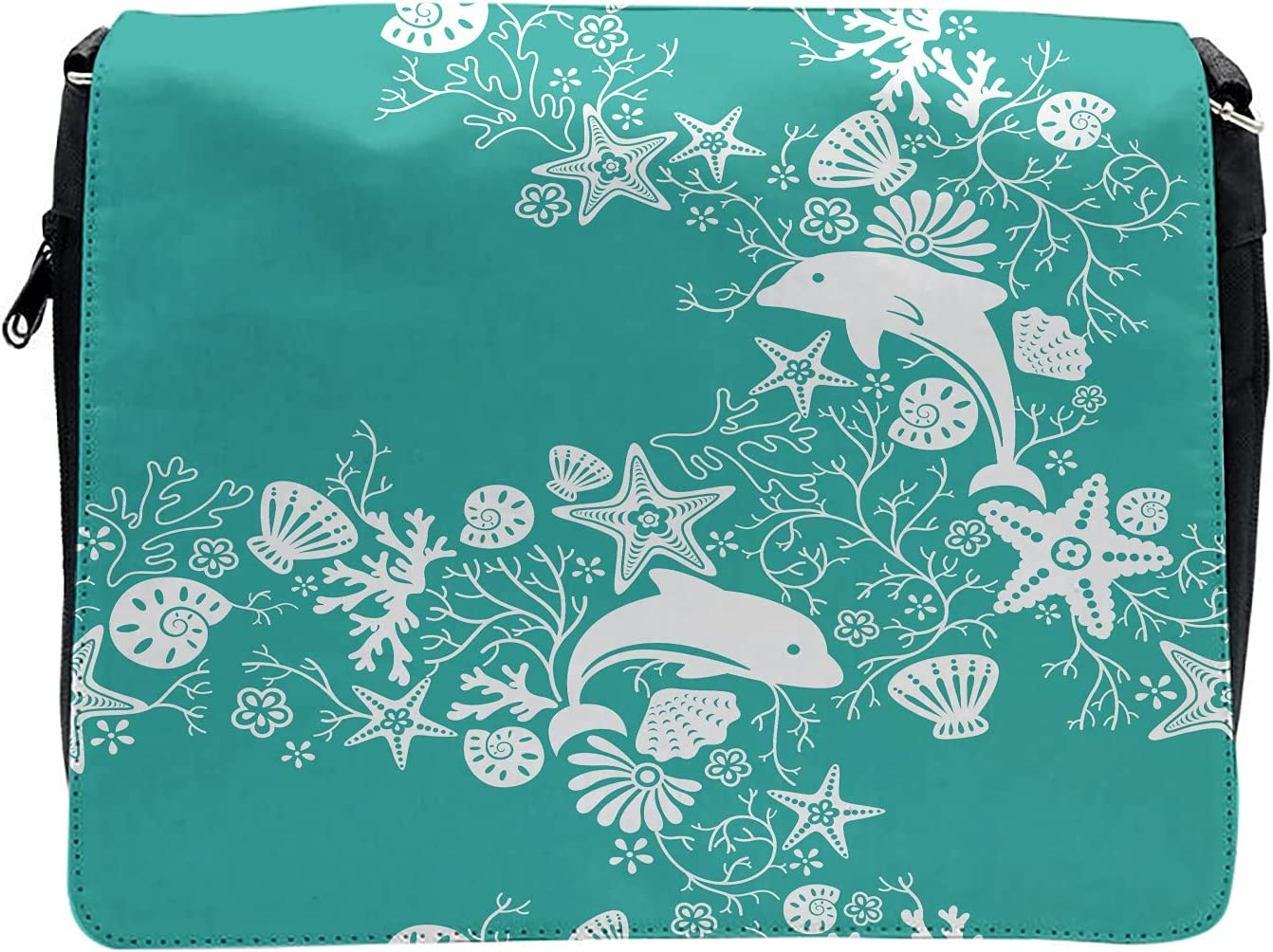 Ambesonne Fish Cross Body Messenger Bag, Dolphins and Flowers, Unisex