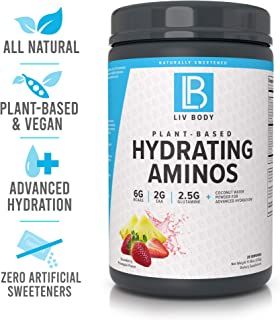 LIV Body | LIV Plant Based Hydrating Aminos | 6g of BCAA, 2g of EAA & 2.5g of Glutamine | Coconut Water Powder for Advanced Hydration (Strawberry Pineapple)