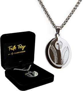Luke 1:37 Baseball Cross Necklace and Pendant Stainless Steel for Athletes with Bible Quote Prayer | Christian Gift for Boys and Girls Smaller Size