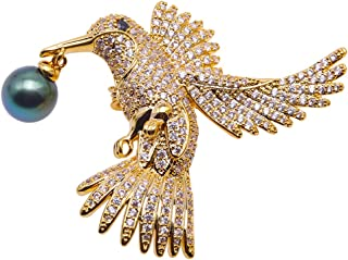 Luxurious Eagle Pearl Brooch 10mm Peacock Green Tahitian Cultured Pearl Brooches Pin Golden-Tone