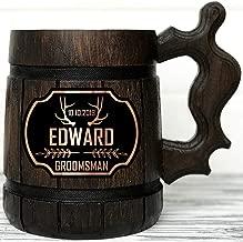 Groomsman Mug. Personalized Wooden Beer Mug. Best Man Gift. Personalized Groomsmen Gift. Groomsmen Beer Mug. Groomsman Gift. Wooden Tankard. Personalized Wedding Gift Wood Mug Custom Beer Steins K174