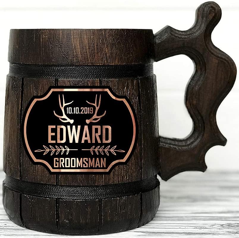 Groomsman Mug Personalized Wooden Beer Mug Best Man Gift Personalized Groomsmen Gift Groomsmen Beer Mug Groomsman Gift Wooden Tankard Personalized Wedding Gift Wood Mug Custom Beer Steins K174