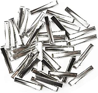 TKOnline 120pcs 1-3/4 Inch(45 mm) Silver Alligator Hair Clip Flat Top with Teeth Single Prong Metal Clips Hairbow Accessory for Arts Crafts Projects, Hair Care Hair Clips,Alligator hair Clips,clips