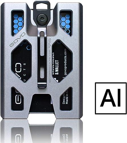 Porte-badge en aluminium GOVO durable avec clip en métal et emplacement pour 4 cartes (argent)