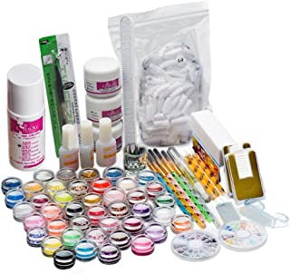 ANBOO Pro 26 Acrylic Nail Art Kit Tips Powder Crystal Liquid Brush Glitter Carved Pollen Set