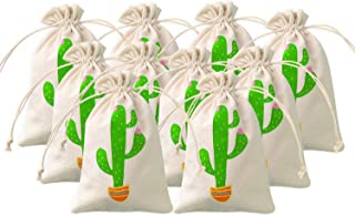 Cactus Party Favor Bags Cactus Fiesta West Themed Party Treat bag Gift Bags Desert Wedding Welcome Bags Bachelorette Party Hangover Kit Drawstring Cotton Pouch,Set of 10