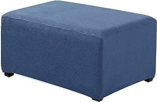 Enova Home Jacquard Polyester Stretch Fabric Rectangle Folding Oversized Ottoman Slipcover for Living Room (Denim Blue, Ottoman)