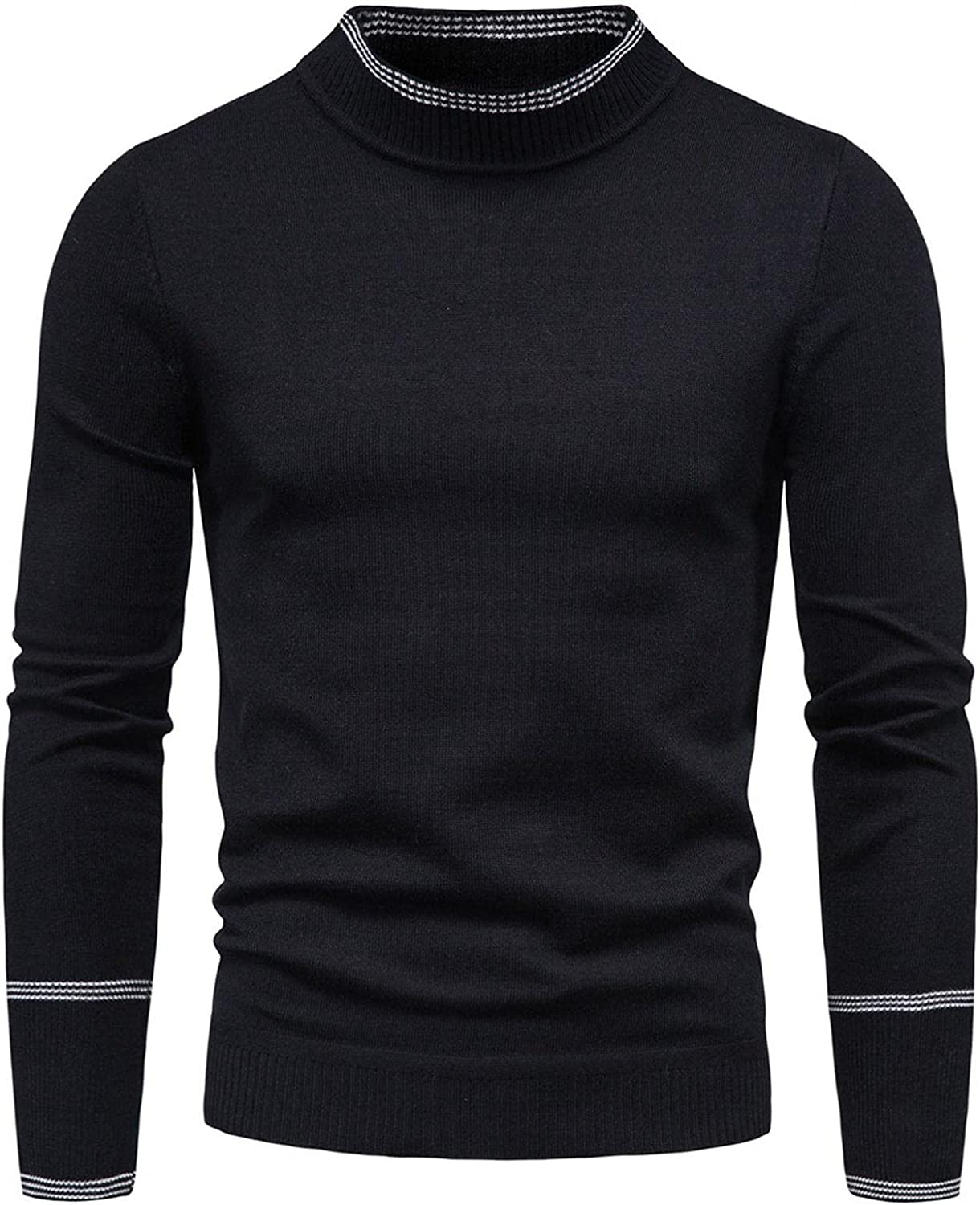 VEKDONE Men's Muscle Fitted Long Sleeve Cotton Cable Stitch Crewneck Sweater Color Block Vintage Ugly Christmas Sweaters