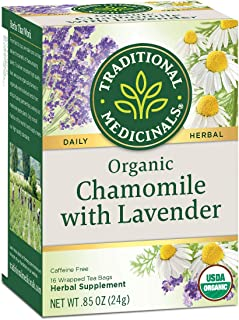 Traditional Medicinals Organic Chamomile with Lavender Herbal Tea, 16 Tea Bags (Pack of 1)
