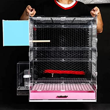 DDSFDS Bird Cage, Flight Cage Breeding Cage Tiger Skin Peony Cloud Acacia Bird Transparent Acrylic Parrot Travel Cage, 20.47