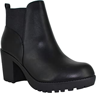 Women's Section Vegan Faux Leather Chunky Heel Ankle Boot