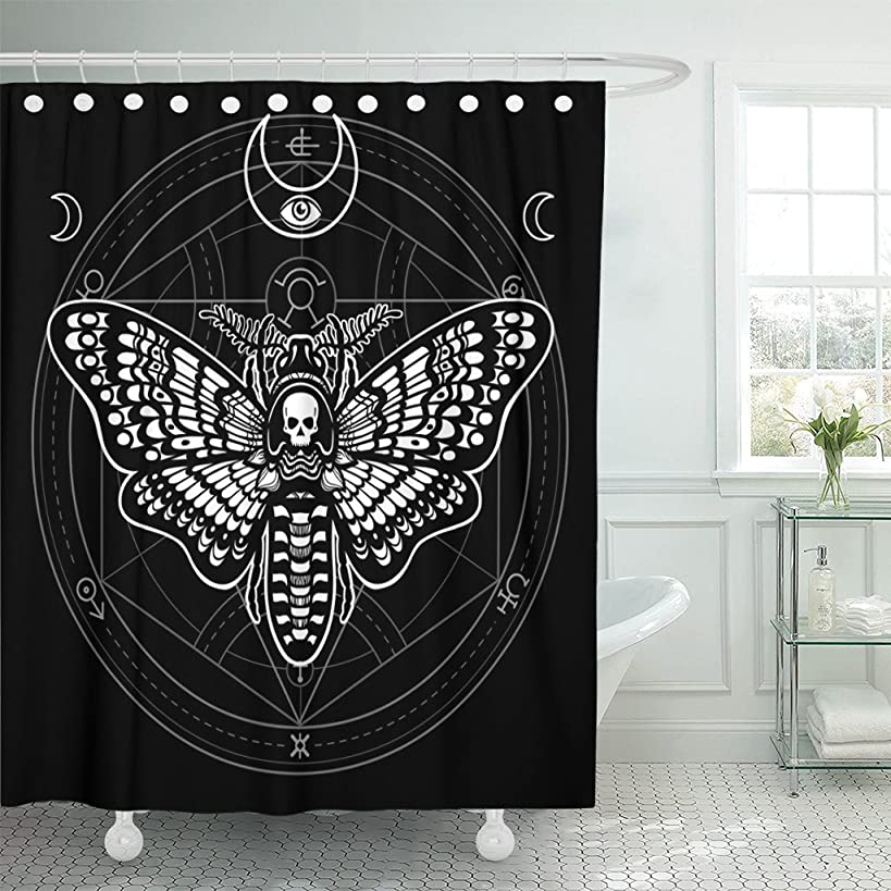 TOMPOP Shower Curtain Moth Dead Head Mystical Circle Esoteric Symbol Sacred Geometry Waterproof Polyester Fabric 60 x 72 Inches Set with Hooks