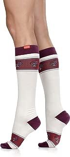 VIM & VIGR Women's 15-20 mmHg Compression Socks: Banded Heart - Cream (Cotton) (Small)