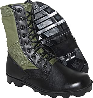 Jungle Boot 8 Inch Leather Black Green Tactical Men's Combat
