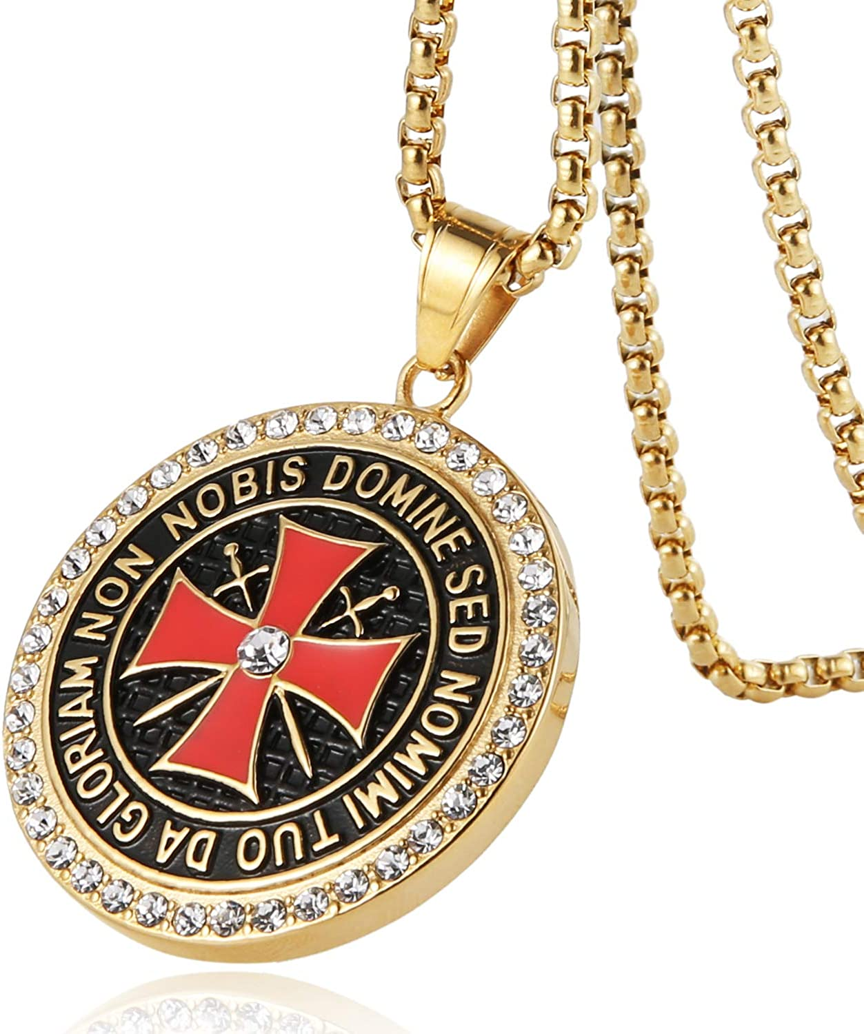 HZMAN Knight Templar Necklace - Masonic College Style GOLD Color Stainless Steel Pendant for Men