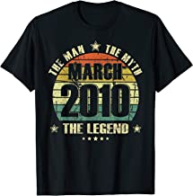 Vintage Born In March 2010 Man Myth Legend 10 Years Old T-Shirt