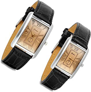 Romantic Couple Watch Set Square Watches Love for Men and Women 2 Pcs Retro Vintage Silver Tone Case Crocodile Pattern Black Leather Wristwatch Valentine's Day Gift