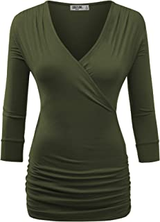 Women's 3/4 Sleeve Cross Front Wrapped V Neck Top S-3XL Plus Size -Made in U.S.A.