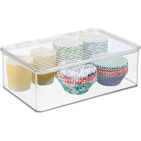 mDesign boîte de rangement avec couvercle – bac alimentaire en plastique de 3 L pour conserves, fromage, viandes, etc. – rangement de cuisine pour réfrigérateur et congélateur – transparent